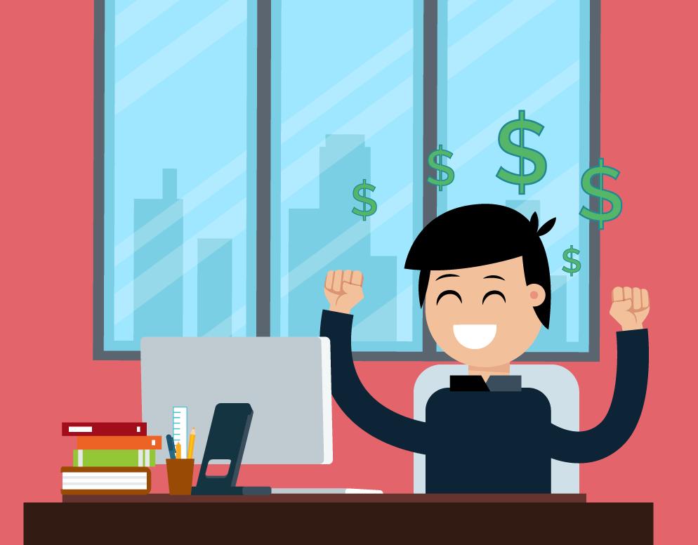 Man at his desk celebrating a successful marketing campaign