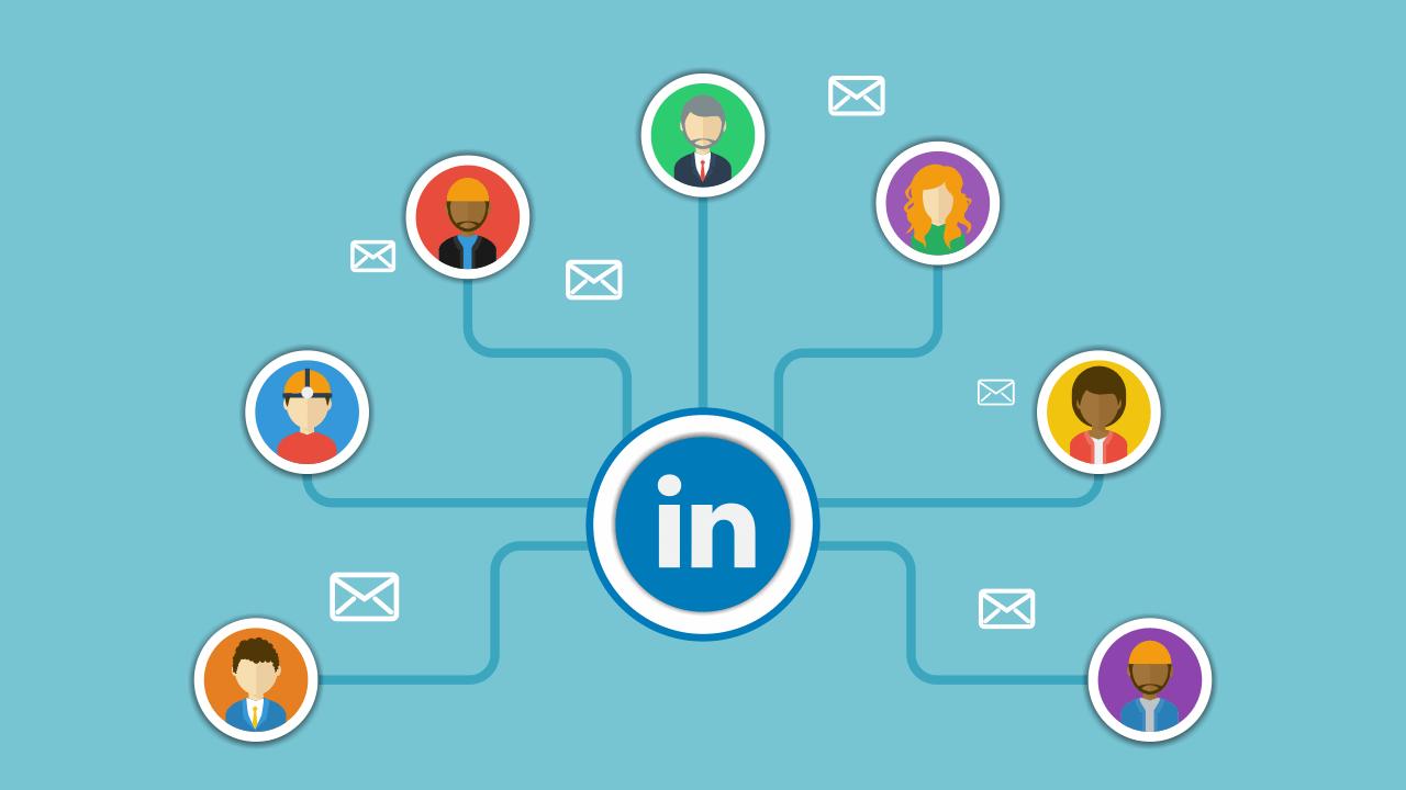 LinkedIn logo linked to prospects around it