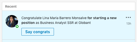 Screenshot of job change notification on LinkedIn